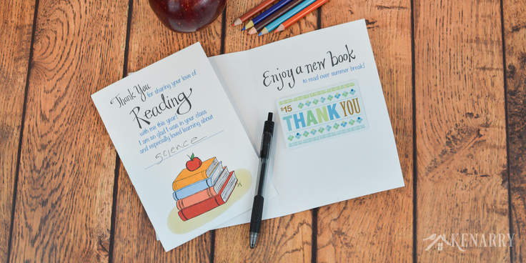 Say thank you to your child's teacher with this free printable teacher appreciation card. It has a focus on reading books and saying thanks at the end of the school year. This card also makes an easy teacher gift when you attach an Amazon gift card or one for a local book store. #teacherappreciation #teacher_appreciation_printable #teacherappreciationideas