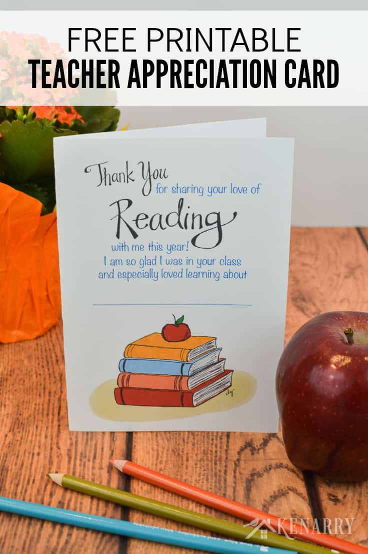 photograph about Teacher Appreciation Cards Free Printable identified as Trainer Appreciation Card: Totally free Printable for 12 months Close Kenarry