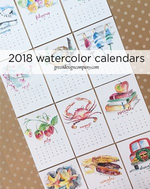 2018 Watercolor Calendars