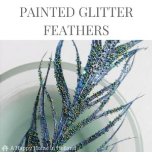 DIY Painted Glitter Feather Idea - head over to ahappyhomeinholland.com for the tutorial.