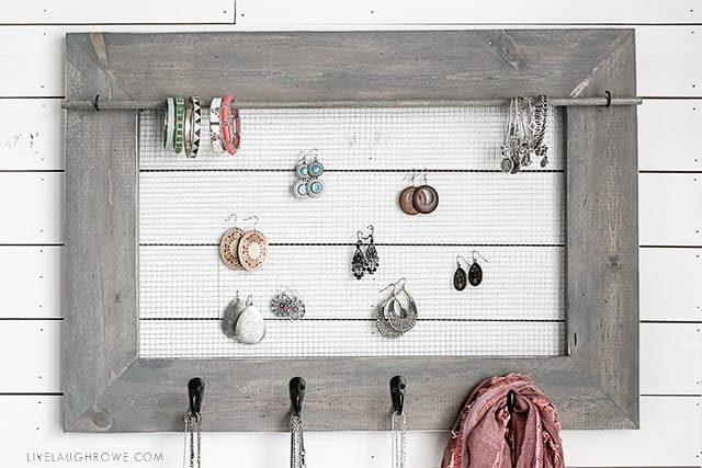 DIY Jewelry Organizer with Farmhouse Charm – Live Laugh Rowe - 16 Brilliant Ideas for DIY Jewelry Organizers on Kenarry.com