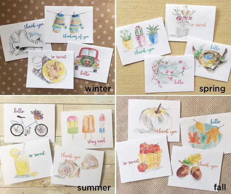 FREE Watercolor Note Cards for Spring, Summer Winter and Fall