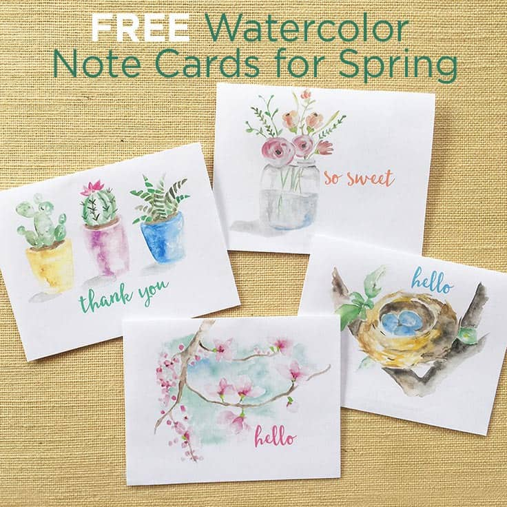 image relating to Free Printable Note Cards known as Free of charge Spring Watercolor Be aware Playing cards: Printable Greeting Playing cards
