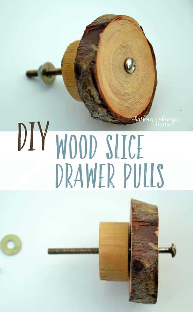 Collage of wood slice drawer pulls