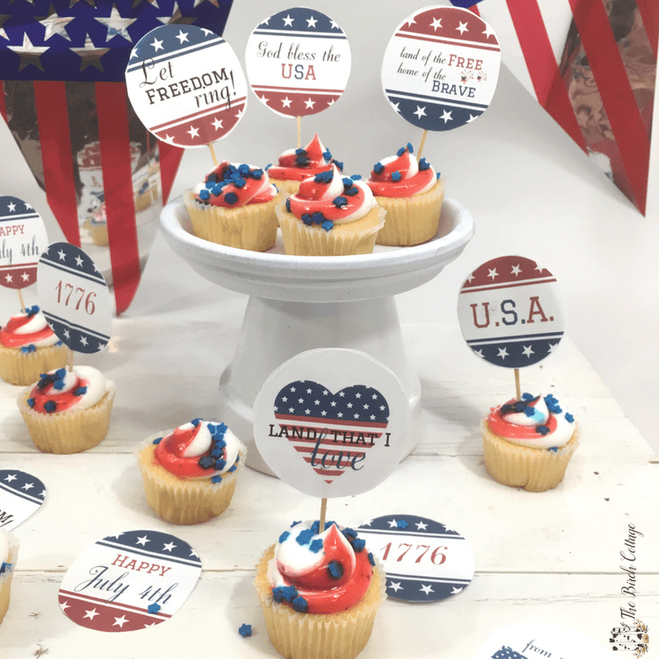 Patriotic Cupcake Toppers for July 4th Celebrations