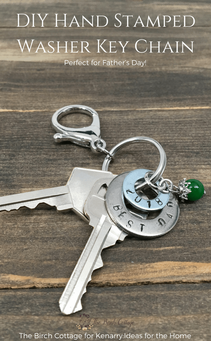 Stamped Washer Key Chain from The Birch Cottage #fathersday #diygifts #fathersdaycrafts #giftidea