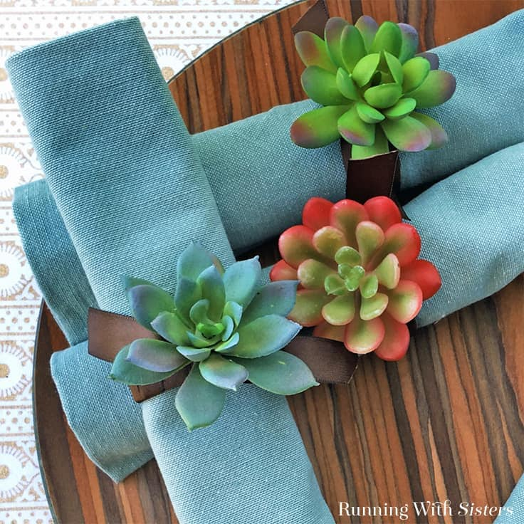 Succulent Napkin Rings: Easy Dollar Store Project