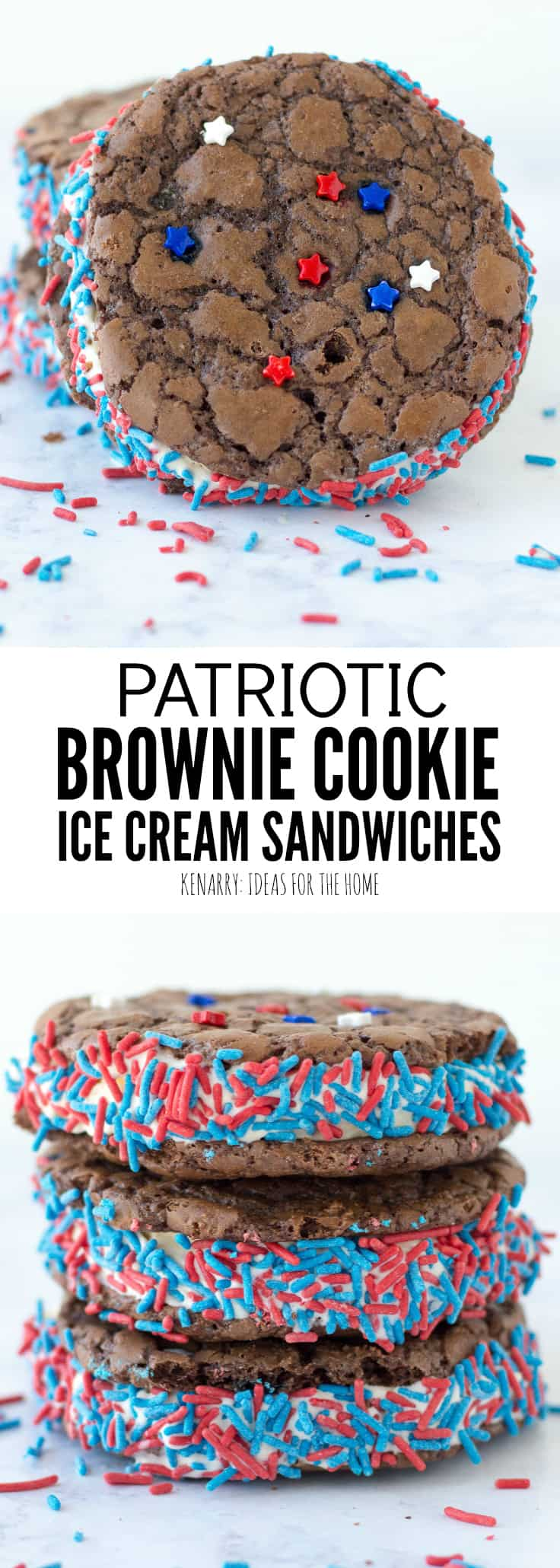 Learn how to turn a brownie mix into cookies to make the most amazing brownie ice cream sandwich recipe for summer. This easy patriotic dessert is the perfect red, white and blue chocolate treat for 4th of July, Memorial Day and Labor Day.