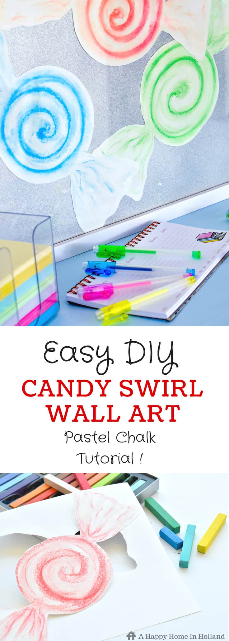 How to create fun Candy Swirl wall art using pastel chalks. #diywallart #girlsroom #diywalldecor #candydecor