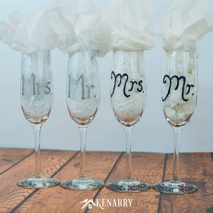 Simple Wedding Gift Ideas: Hand Painted Champagne Flutes: Easy Wedding Gift