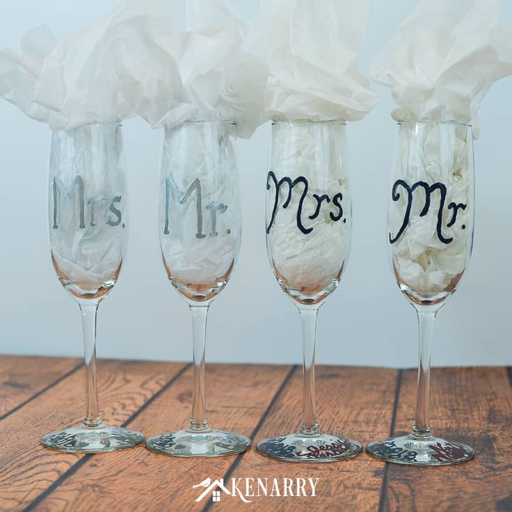 These Mr. and Mrs. toasting glasses are an easy DIY gift for the bride and groom. Personalized hand painted champagne flutes are the perfect DIY gift for a bridal shower, wedding or anniversary. #weddinggifts #weddingideas #weddingreception #handpainted