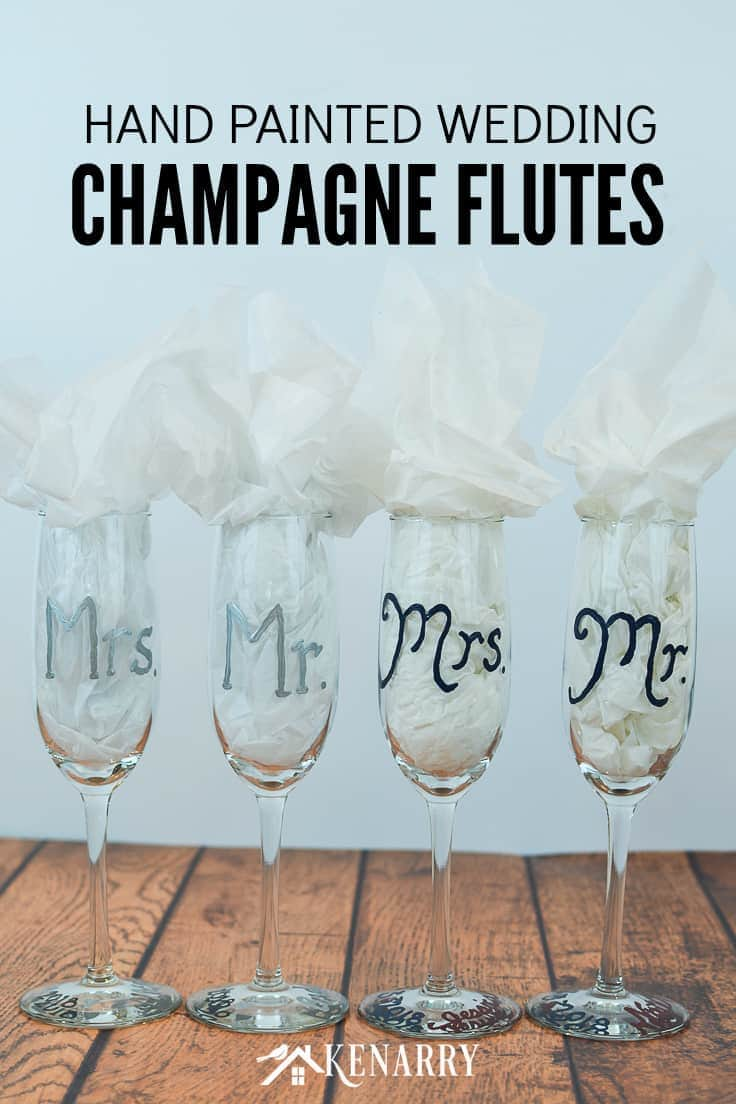 Use gloss enamel paint to customize hand painted champagne flutes for a wedding. These Mr. and Mrs. toasting glasses are an easy DIY gift for the bride and groom, perfect for a bridal shower, wedding or anniversary. #weddinggifts #weddingideas #weddingreception #handpainted
