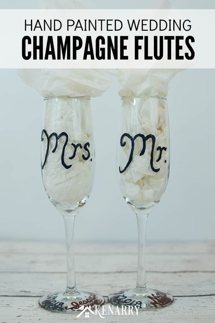 Learn how to make personalized hand painted champagne flutes. These Mr. and Mrs. toasting glasses are an easy DIY gift for the bride and groom, perfect for a bridal shower, wedding or anniversary. #weddinggifts #weddingideas #weddingreception #handpainted