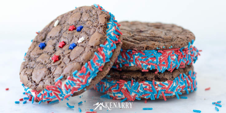 This brownie ice cream sandwich recipe is an easy dessert idea. With red, white and blue sprinkles, your kids will love this patriotic treat for 4th of July, Memorial Day and Labor Day. #4thofjuly #summerrecipes #memorialday #brownies