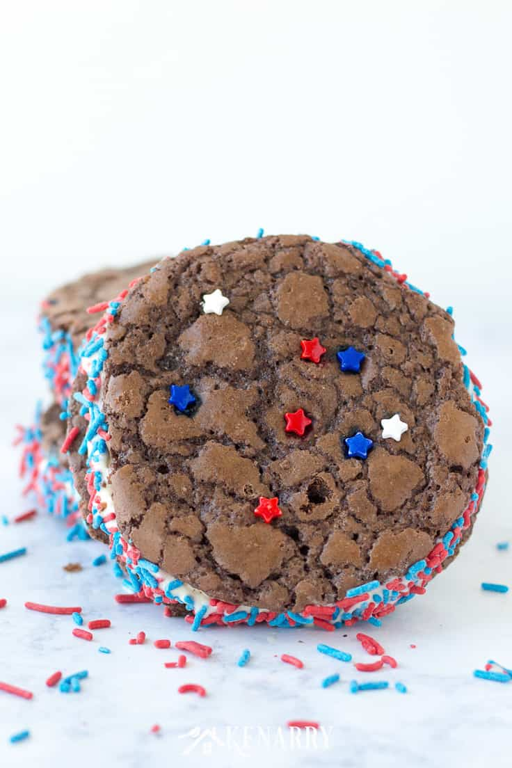 Brownie ice cream sandwiches with red and blue sprinkles