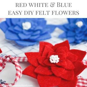Red, white and blue felt flower diy craft tutorial