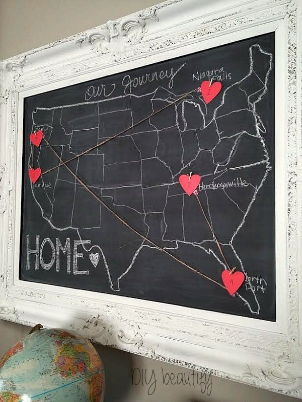 Chalkboard Map – DIY Beautify - Home Sweet Home Art: 14 Easy DIY Craft Ideas featured on Kenarry.com