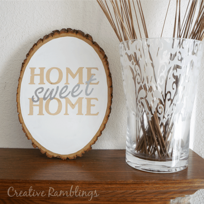 Home Sweet Home Wood Slice – Creative Ramblings - Home Sweet Home Art: 14 Easy DIY Craft Ideas featured on Kenarry.com