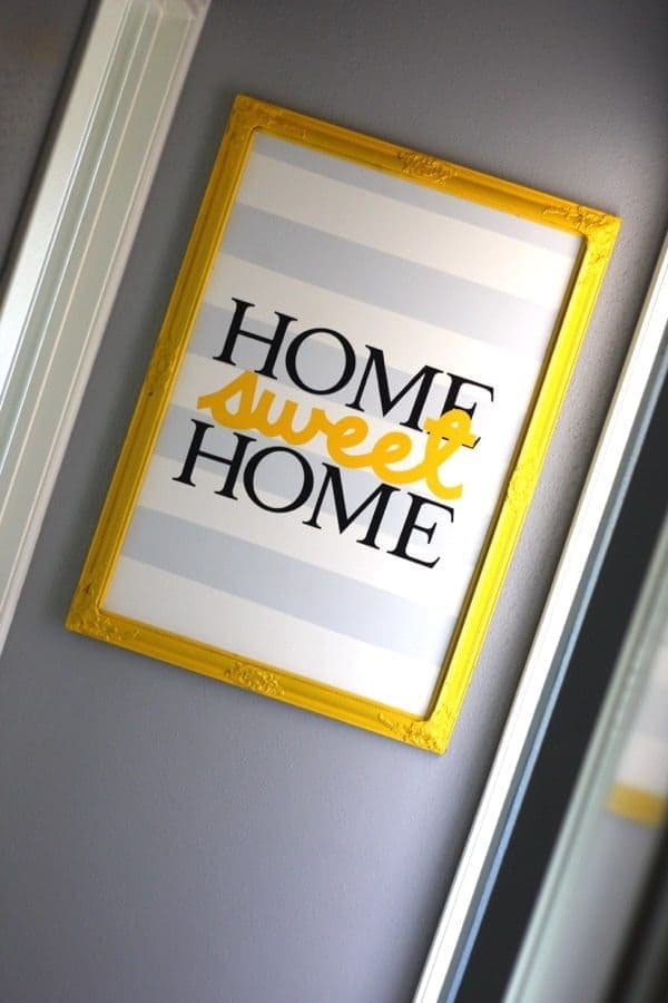"DIY Vinyl Artwork ""Home Sweet Home"" – Love and Renovations - Home Sweet Home Art: 14 Easy DIY Craft Ideas featured on Kenarry.com"