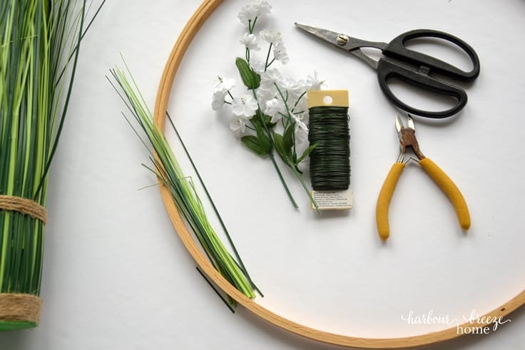 Greenery for an Embroidery Hoop Front Door Wreath