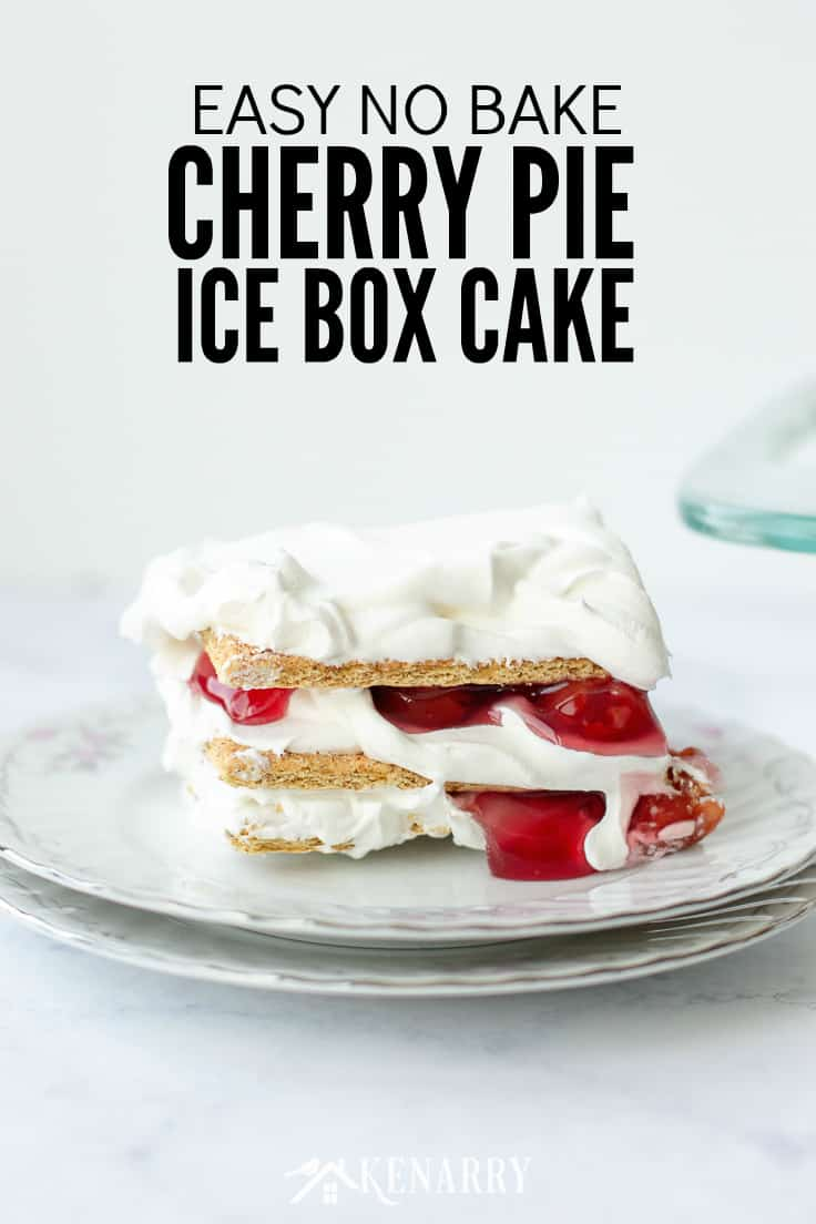 Use this easy recipe for No Bake Cherry Pie Ice Box Cake the next time you want to delight your family at a backyard barbecue, picnic or potluck! It's made with just 3 ingredients, so it's a quick dessert idea for summer. #dessert #easyrecipe #nobake