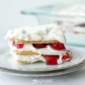 With just 3 ingredients, this No Bake Cherry Pie Ice Box Cake is an easy summer dessert idea you can whip up quickly for your outdoor picnic or potluck.