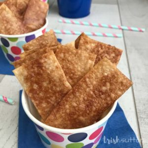 A simple recipe for Baked Cinnamon Chips made with Wonton wraps. These cinnamon Wonton strips are light, crisp, sweet and easy to make!
