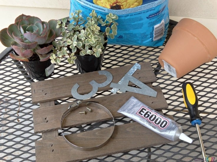 diy house number wall planter supplies