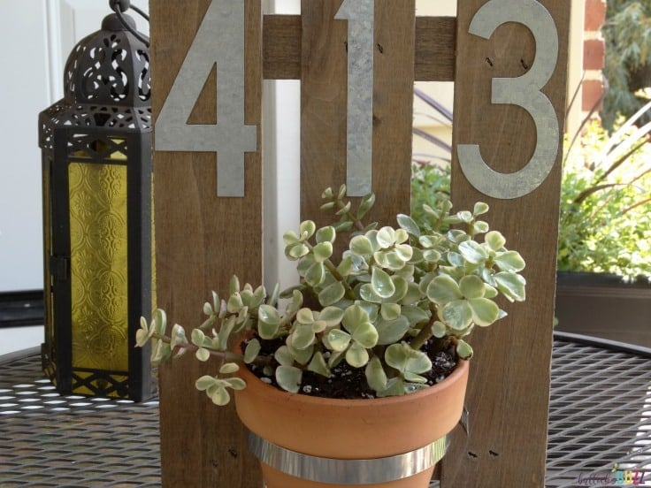 DIY House Number Wall Planter finished