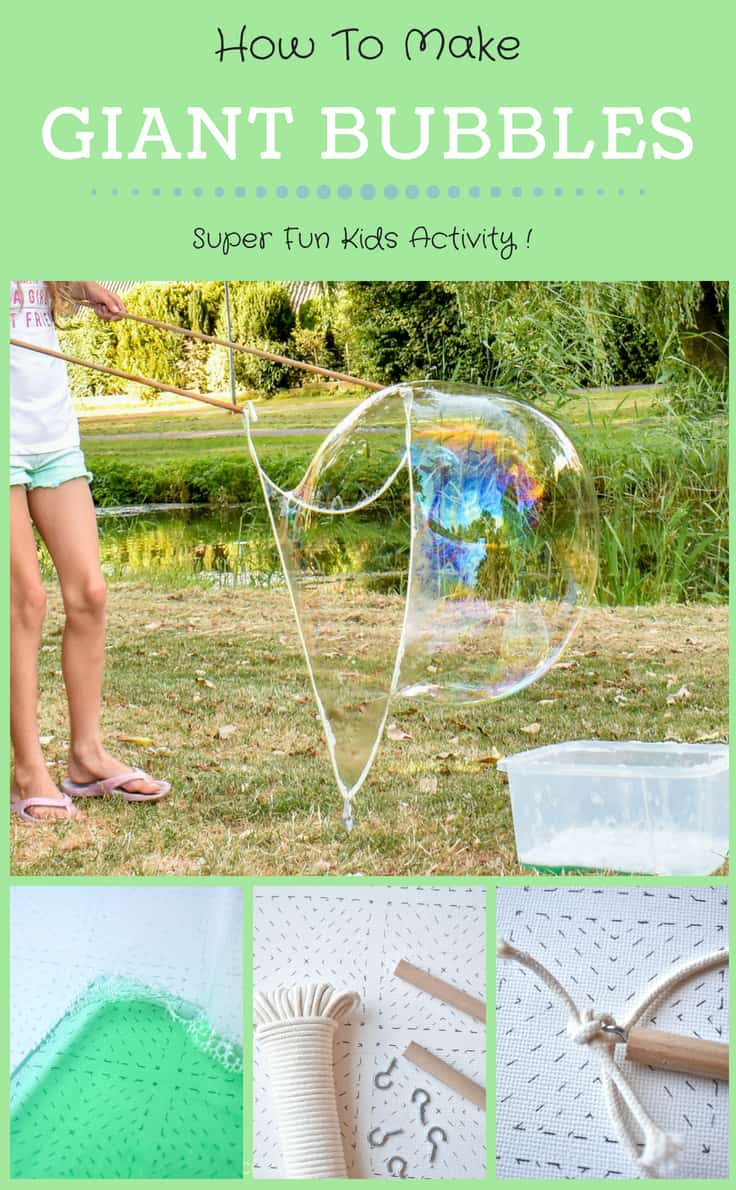 Learn how to create super fun giant bubbles with a couple of sticks and some string! #summer #summeractivities #kidsactivities #stem