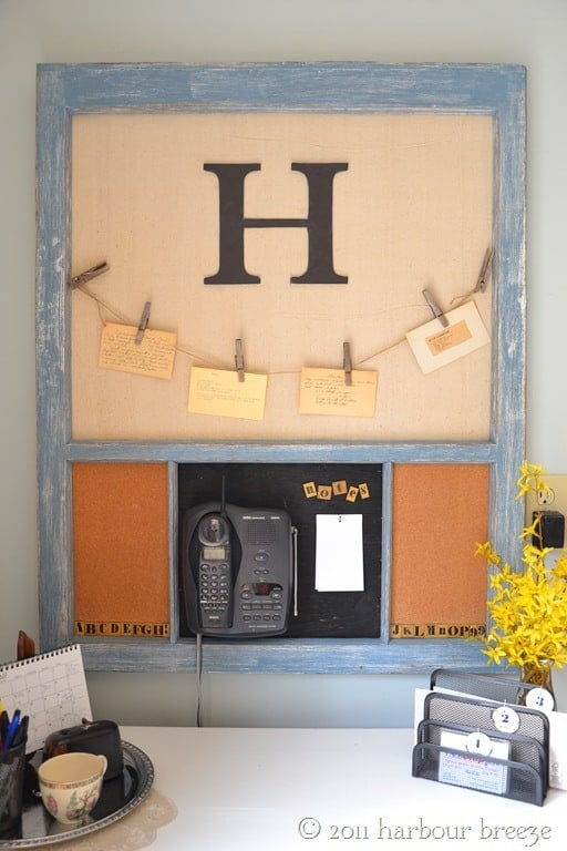 Transform an old antique window into a message board