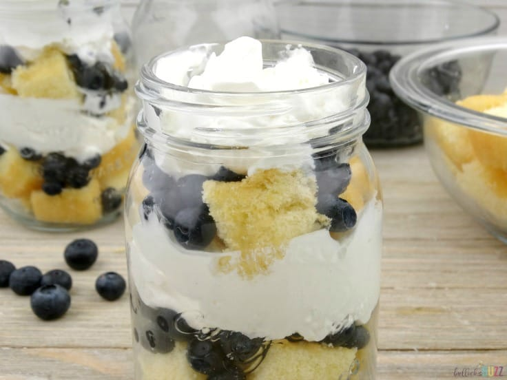 Blueberry Shortcake Trifles top with blueberries add last layer whipped cream