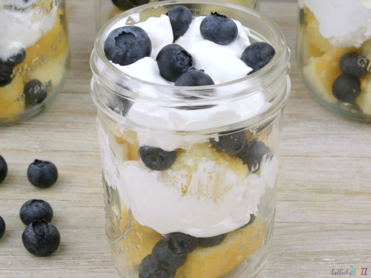 mason jar Blueberry Shortcake Trifles