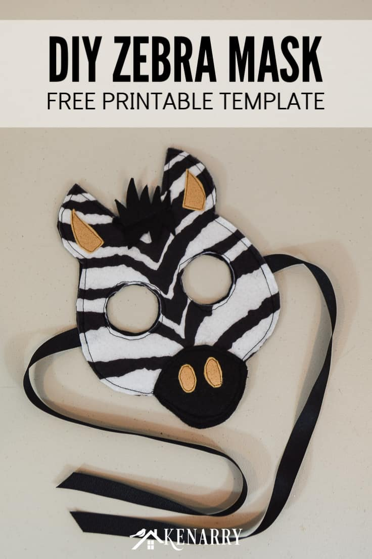 Make a DIY zebra mask for a kids jungle costume for dress-up, Halloween or school parades. This mask works great as Zeke the zebra from Zoophonics for a cute kids' costume for preschool and kindergarten. #diyhalloweencostume #halloween #costume #halloween #kidscostumes #diycostumes #kenarry
