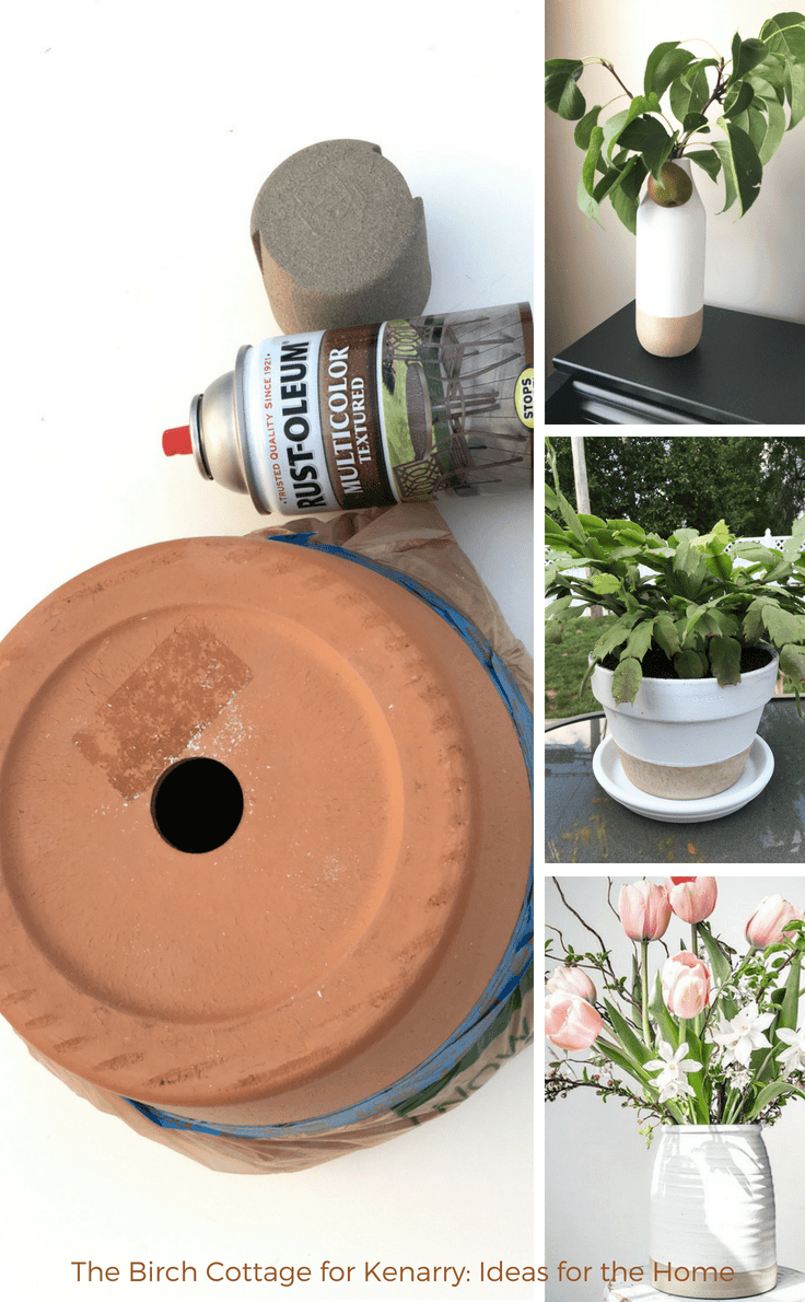 A flower pot makeover with two tone paint by The Birch Cottage #diy #diyhomedecor #craft
