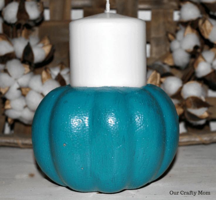 Finished  Painted Blue Pumpkin Our Crafty Mom #falldecor #falldiy #fallcrafts #crafts #diy pumpkins #fallhomedecor
