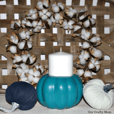 How To Make A DIY Pumpkin Candle Holder From Dollar Store Pumpkins Our Crafty Mom