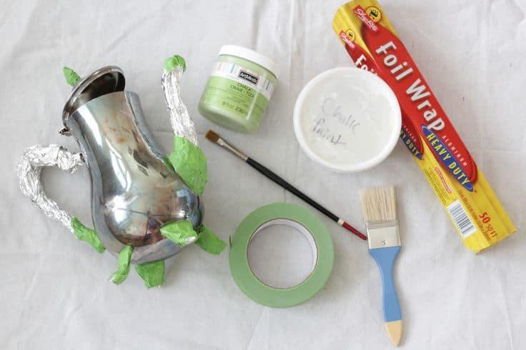Supplies for chalk painted pumpkin teapot.