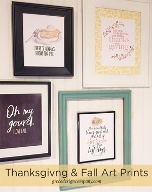 art prints for fall and Thanksgiving with a freebie