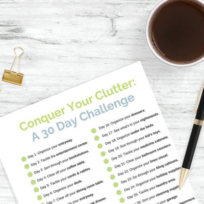 Get organized and stay organized with the 30 Day Conquer Your Clutter Challenge. You'll spend 15 minutes a day bringing order and organization to your home.