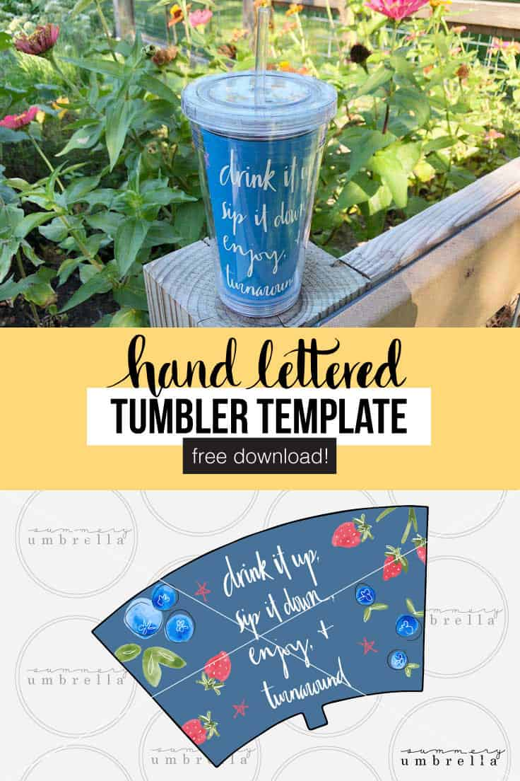 Looking for a new insert for your tumbler? Then you're in luck! This custom DIY tumbler template is not only eye candy for your drinks, but is also a free printable download. Get it now! Learn how to make these cute cups in minutes with just a printer! #handlettered #crafts #diy #tumbler #tumblertemplate #freeprintable #kenarry