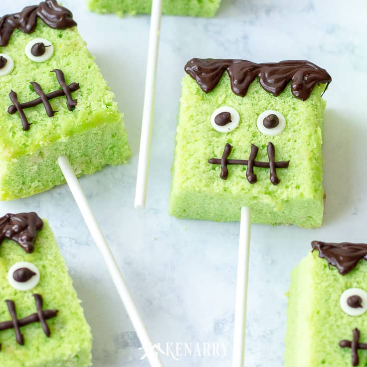 Frankenstein cake pops are a fun treat to make for a Halloween party or to give as a special fall gift for close friends and neighbors who come by your house to trick or treat. This easy recipe will show you how to make them. #easyrecipes #halloween #recipes #dessert #kidfriendlyrecipes