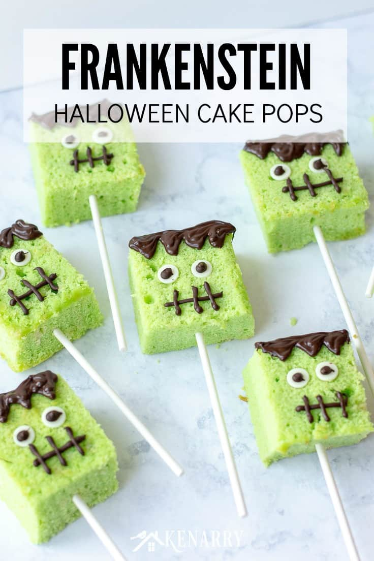 Learn how to make Halloween cake pops with this Frankenstein inspired tutorial. It's such a fun treat for a Halloween party. #easyrecipes #halloween #recipes #dessert #kidfriendlyrecipes