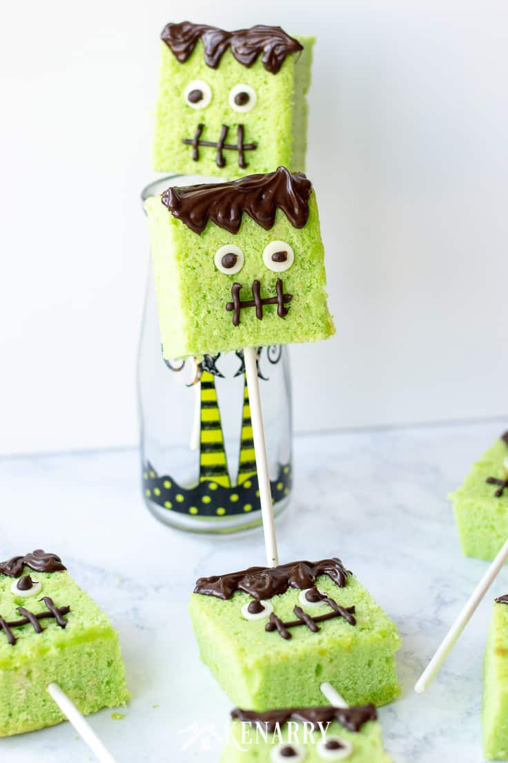 What could be cuter for Halloween than these Frankenstein monster cake pops? We'll show you how to make them step-by-step with this Halloween cake pops tutorial. #easyrecipes #halloween #recipes #dessert #kidfriendlyrecipes