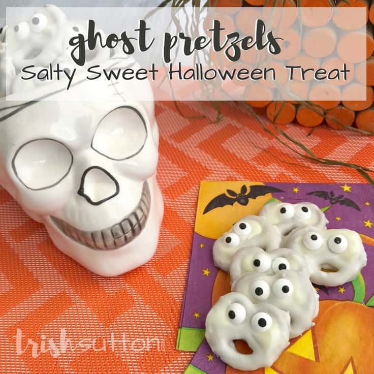 Amazingly Simple Halloween Ghost Treats Vanilla Salty Sweet; TrishSutton.com #halloween #recipe #dessertrecipe #kidfriendly