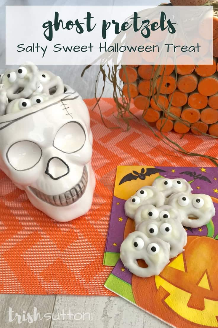 Amazingly Simple Halloween Ghost Treats Vanilla Salty Sweet; TrishSutton.com #halloween #recipe #dessertrecipe #kidfriendly
