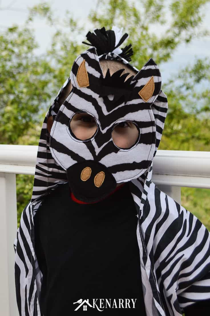 Diy Animal Costume Easy Kid S Zebra Costume With Free Mask Template