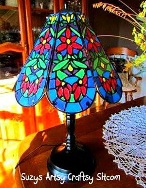 How to make a Faux Tiffany Lamp from a Thrift Store find!