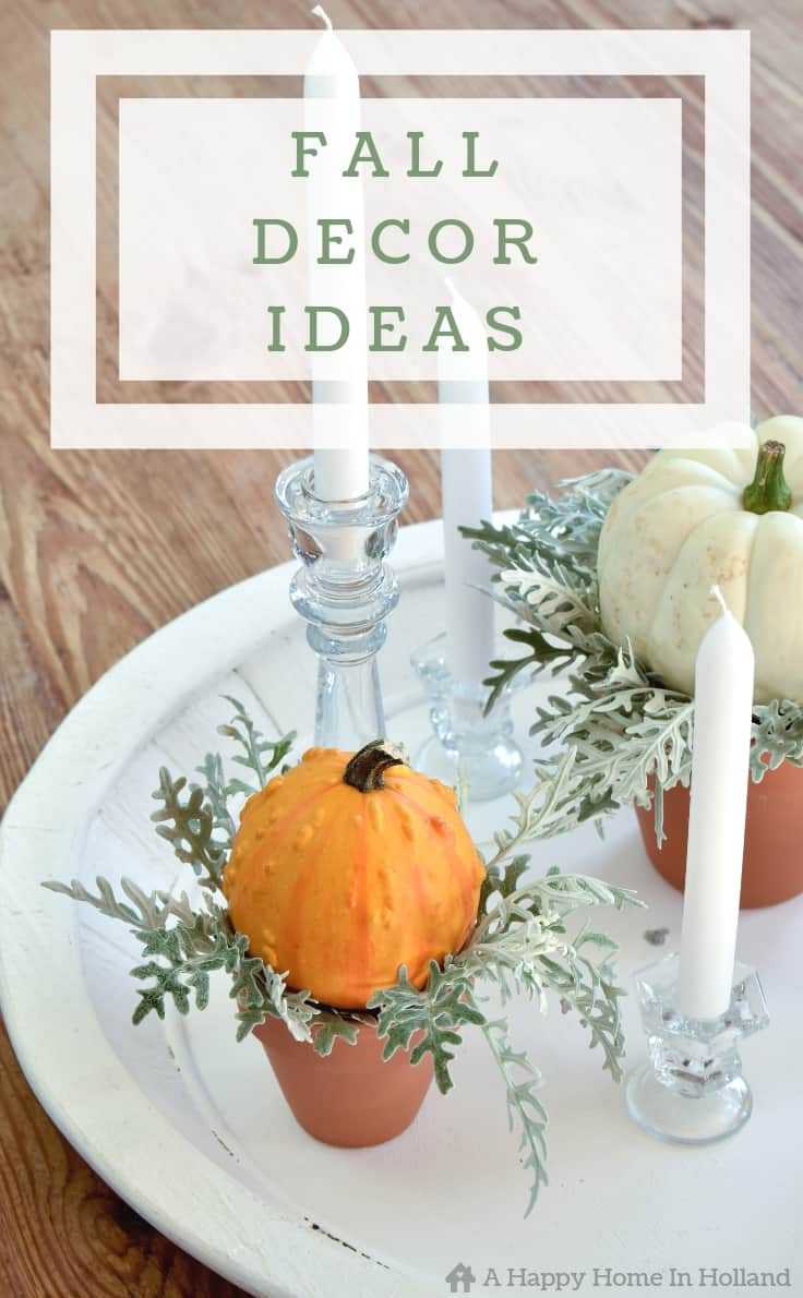 How to use pumpkins and gourds to decorate for the home this fall. These are wonderfully simple DIY ideas. #fall #falldecorideas #fallhomedecor #falldecorations #pumpkins #kenarry