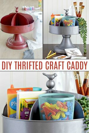 Spinning caddy upcycle to organize kids crafts